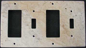 Four gang picaso travertine switch cover plate