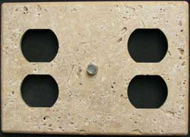 Three gang tumbled durango travertine switch plate
