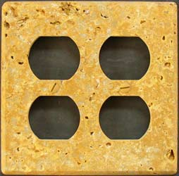 Double tumbled travertine cover plate